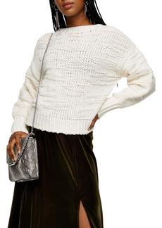 Topshop Drop Stitch Crewneck Sweater
