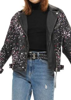 Topshop Eddie Rhinestone & Paint Splatter Leather Biker Jacket