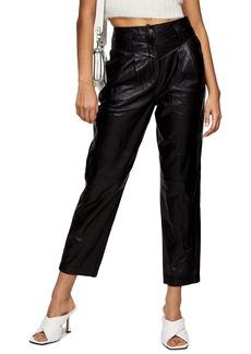Topshop Ella Leather Peg Trousers