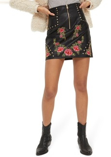 Topshop Embellished Floral Faux Leather Skirt