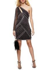 Topshop Embellished One-Shoulder Sheath Dress