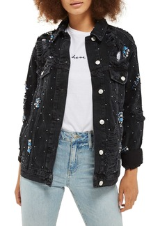 Topshop Embellished Oversize Denim Jacket