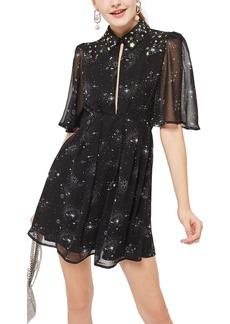 Topshop Embellished Star Print Skater Dress
