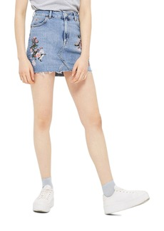 Topshop Embriodered Denim Miniskirt