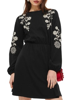 Topshop Embroidered Balloon Sleeve Skater Dress