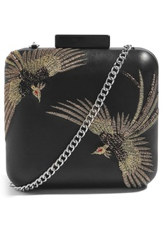 Topshop Embroidered Bird Boxy Leather Crossbody Bag