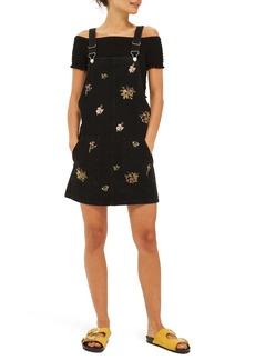 Topshop Embroidered Black Denim Pinafore Dress