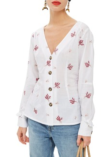 Topshop Embroidered Button Down Blouse