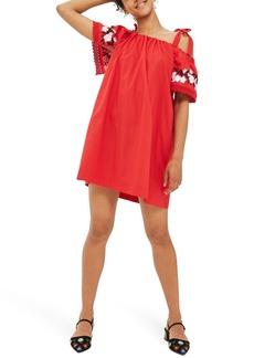 Topshop Embroidered Cold Shoulder Dress
