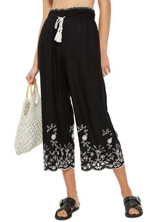 Topshop Embroidered Crop Wide Trousers