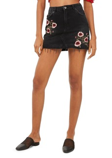 Topshop Embroidered Denim Miniskirt
