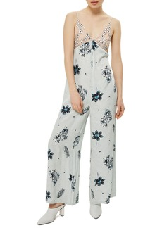 Topshop Embroidered Floral Jumpsuit