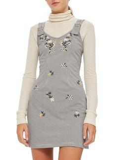 Topshop Embroidered Gingham Pinafore Dress