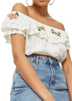 Topshop Embroidered Lace Bardot Top