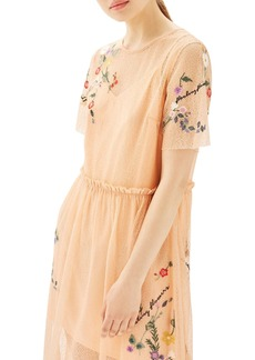 Topshop Embroidered Mesh Midi Dress