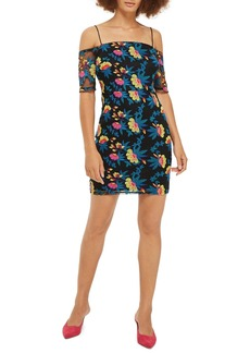 Topshop Embroidered Off the Shoulder Body-Con Dress