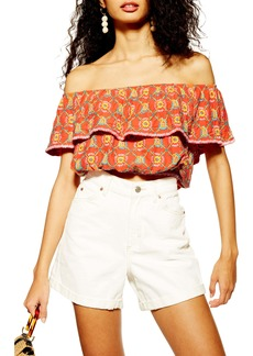 Topshop Embroidered Off the Shoulder Crop Top