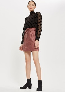 Topshop Embroidered Paperbag Miniskirt