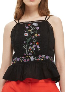 Topshop Embroidered Peplum Top