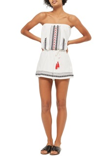 Topshop Embroidered Strapless Romper