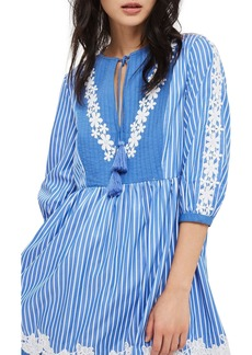 Topshop Embroidered Stripe Smock Dress