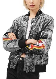 Topshop Embroidered Velvet Bomber Jacket