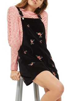 Topshop Embroidered Velvet Pinafore Dress (Petite)