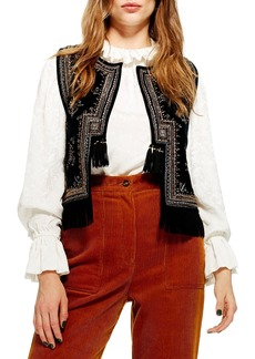 Topshop Embroidered Waistcoat Vest