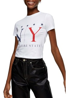 Topshop Empire State Crop Graphic Tee