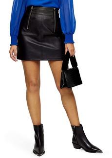 Topshop Etta Faux Leather Zip Miniskirt