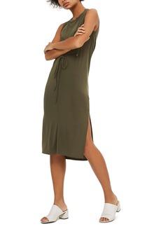 Topshop Eyelet Detail Drape Back Tunic Dress