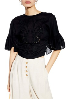 Topshop Eyelet Embroidered Crop Top