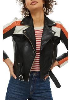 Topshop Ezra Motorcross Leather Biker Jacket