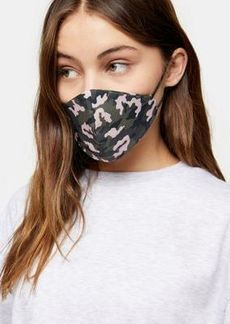 Topshop face covering in green camo print