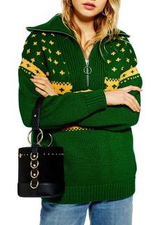 Topshop Fair Isle Zip Collar Sweater