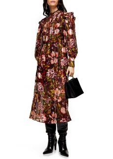 Topshop Fallen Floral Jacquard Long Sleeve Midi Dress