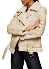 Topshop Fleece & Faux Leather Moto Jacket (Regular & Petite)