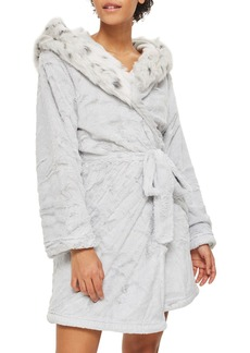 Topshop Faux Fur Hooded Short Robe
