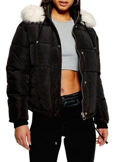 Topshop Faux Fur Lined Quilted Puffer Jacket