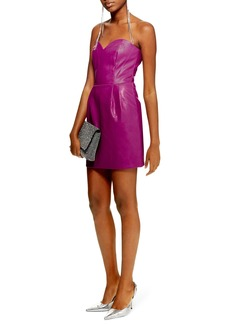 Topshop Faux Leather Bandeau Minidress