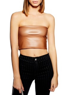 Topshop Faux Leather Bandeau Top