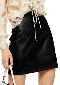 Topshop Faux Leather Miniskirt (Regular & Petite)