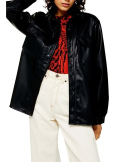 Topshop Faux Leather Oversize Shirt
