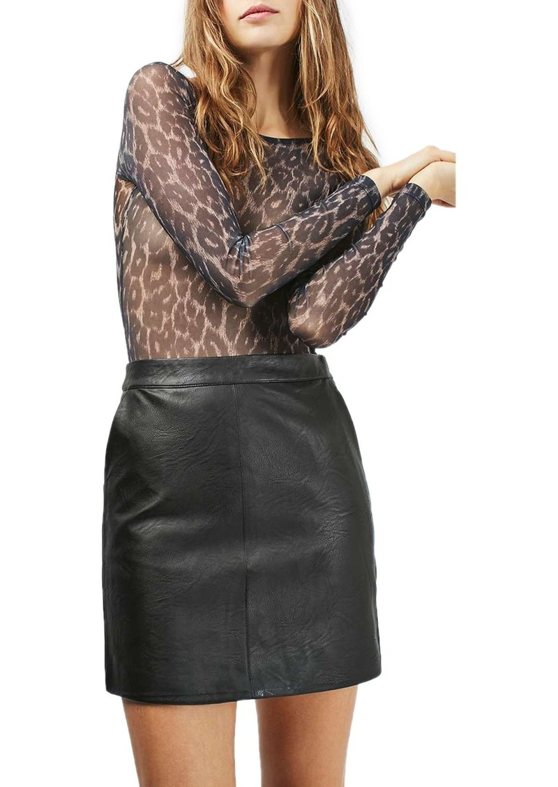 Topshop Faux Leather Pencil Skirt (Regular & Petite)