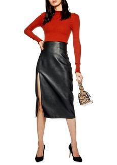 Topshop Faux Leather Pencil Skirt