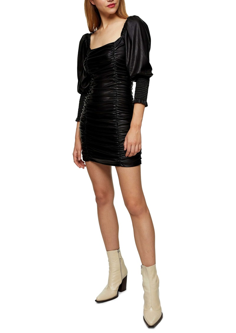 Topshop Faux Leather Ruched Minidress