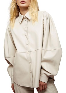 Topshop Faux Leather Seamed Shirt