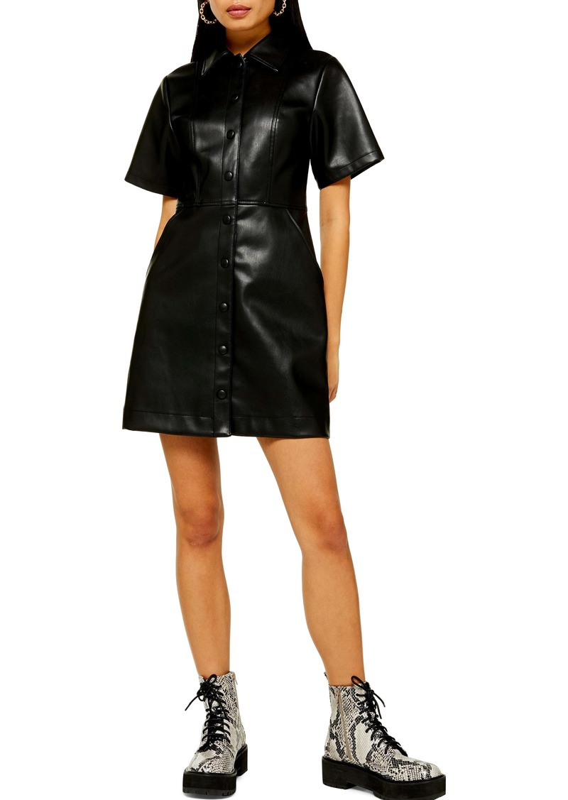Topshop Faux Leather Shirtdress