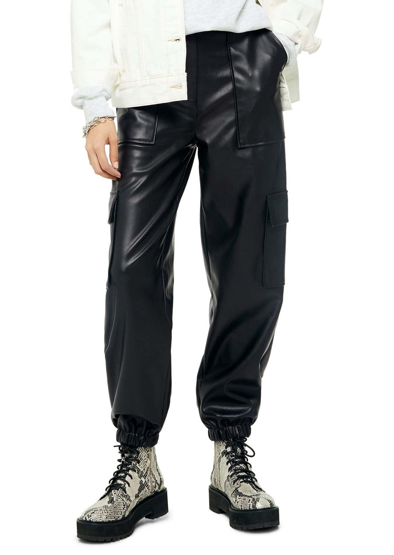 Topshop Faux Leather Utility Trousers