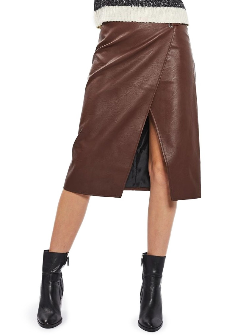Topshop Faux Leather Wrap Midi Skirt